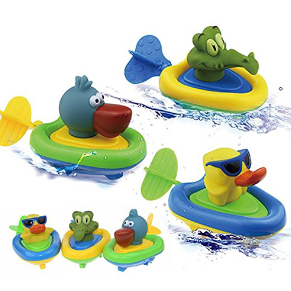Amphibious Pull and Go Car Bathing Soft Rubber Duck Crocodile Pelican Animal Swimming Bathtime Fun Bath Tub Toys for Boys Girls Toddlers (Duck) (Only One Toy)
