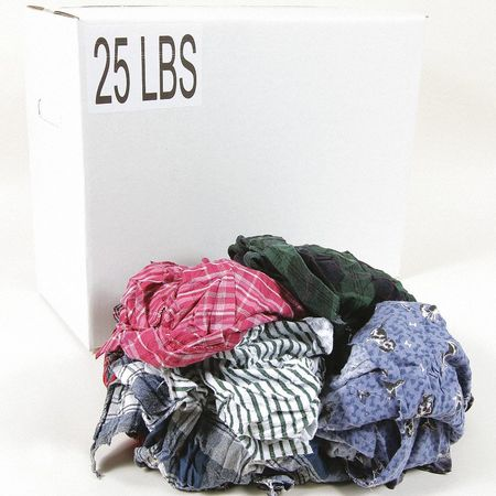 Assorted PROCLEAN BASICS Z99602 Recycled Cotton Cloth Rag 50 lb Varies Sizes