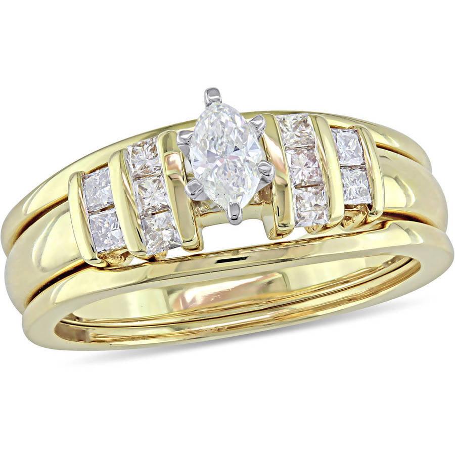 Miabella 1 2 Carat Princess- and Marquise-Cut Diamond 14kt Yellow Gold Three-Piece Bridal Set by Miabella
