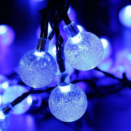 LUCKLED Fairy Solar String Lights, 20ft 30 LED Crystal Globe Ball LED String Lights, Waterproof Outdoor String Lights (Blue)