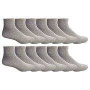 Yacht & Smith 12 Pairs Mens Value Pack Ankle Athletic Sports Socks, by SOCKS'NBULK (10-13 (Men's)) (Gray, 10-13 (Mens))