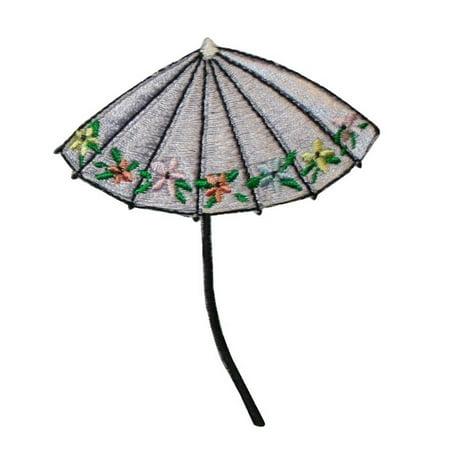 ID 3374B Floral Umbrella Patch Rain Sun Beach Cover Embroidered Iron On Applique