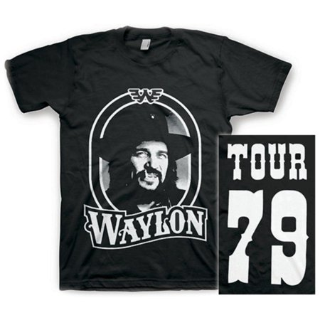 Waylon Jennings- Tour 79 White Logo (Front/Back) Apparel T-Shirt - Black