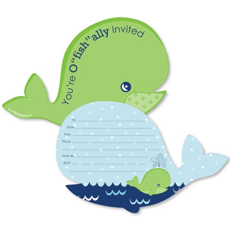 Tale Of A Whale - Shaped Fill-In Invitations - Baby Shower or Birthday Party Invitation Cards with Envelopes - Set of 12