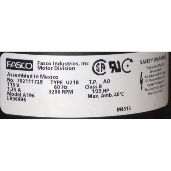 Fasco A196 Draft Motor fits 7021-11544 7021-9065 Trane