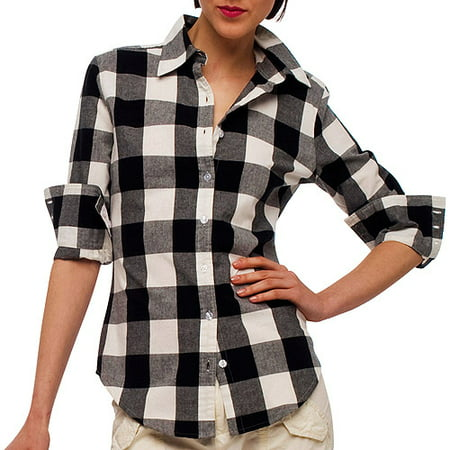Norma kamali women 39 s long sleeve button down buffalo for Plaid button down shirts for women