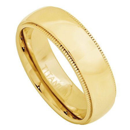Men Women 7MM Comfort Fit Titanium Wedding Band Gold Tone Domed Milgrain Edge Titanium Ring (Size 5 to 15)