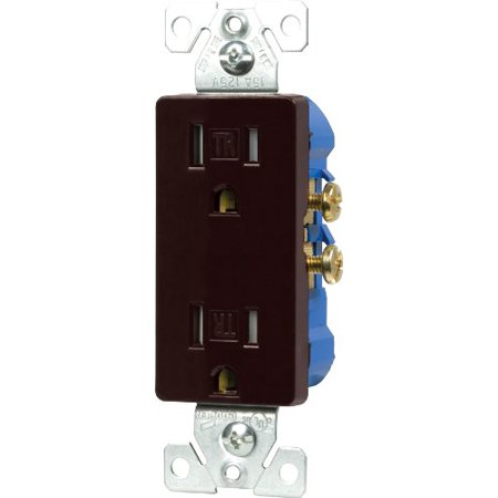 Cooper Wiring Devices TR1107B-BOX Tamper Resistant Decorator Duplex Receptacle, Brown