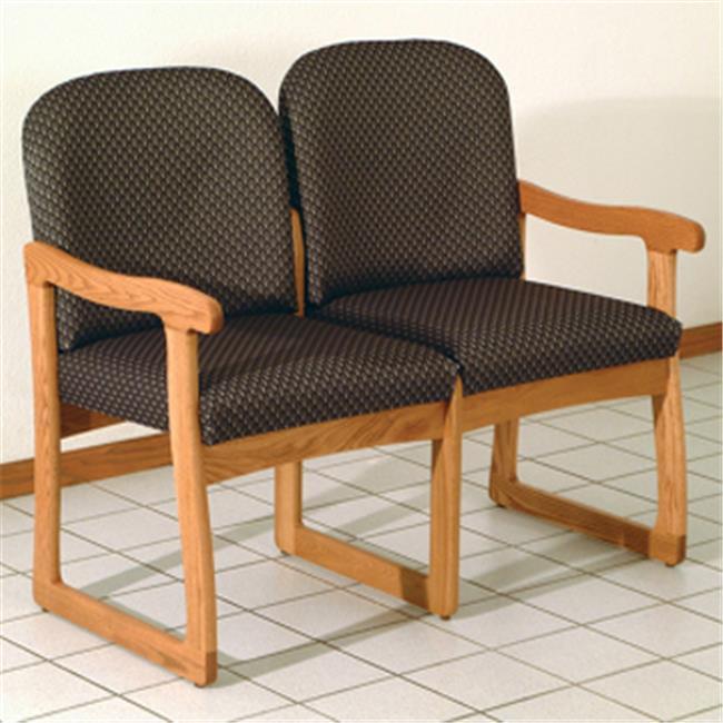 Wooden Mallet DW8-2LOAS Prairie Two Seat Sofa in Light Oak - Arch Slate