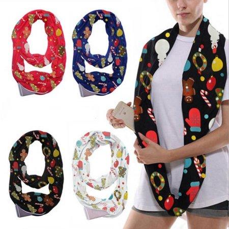 Christmas Women Fashion Bib collar Scarves Neck Circle Wrap Pocket Cowl Long Scarf Long Collar Scarf