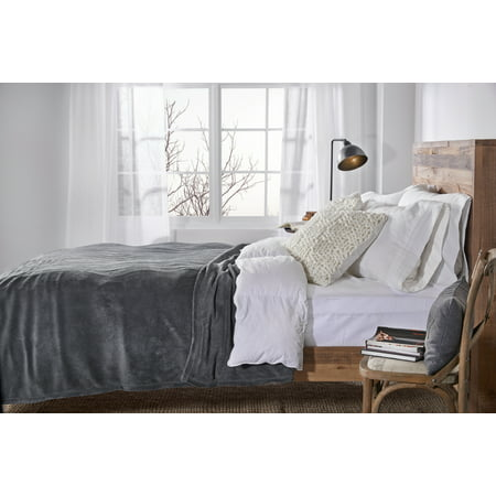 Sunbeam Heated Electric Microplush Blanket with 10 heat settings, King, Slate