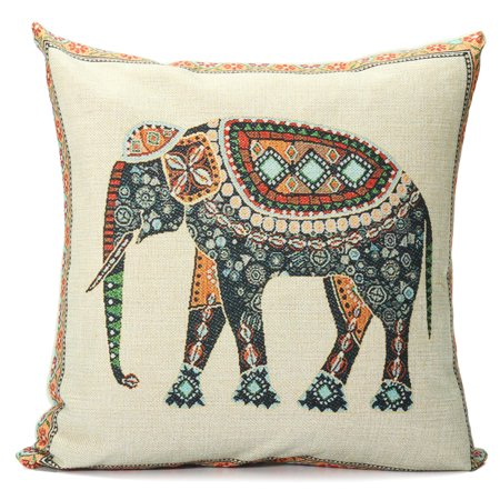 Elephant Pillow Case Indian Knitted Elephant Cotton Linen Throw Cushion Cover Decor 16.5