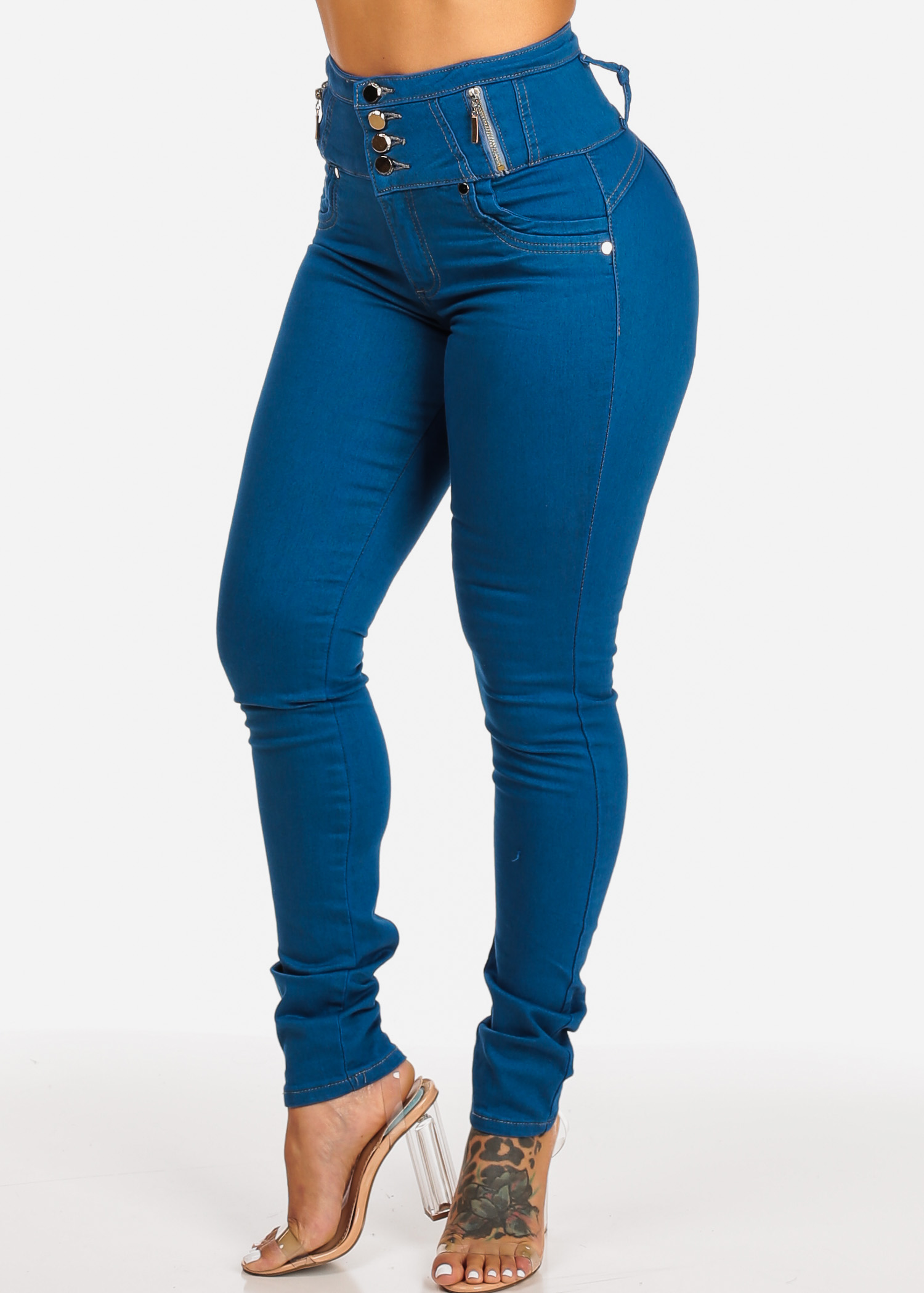 Womens Juniors High Waisted Blue 4 Button Butt Lifting Skinny Jeans  10494L
