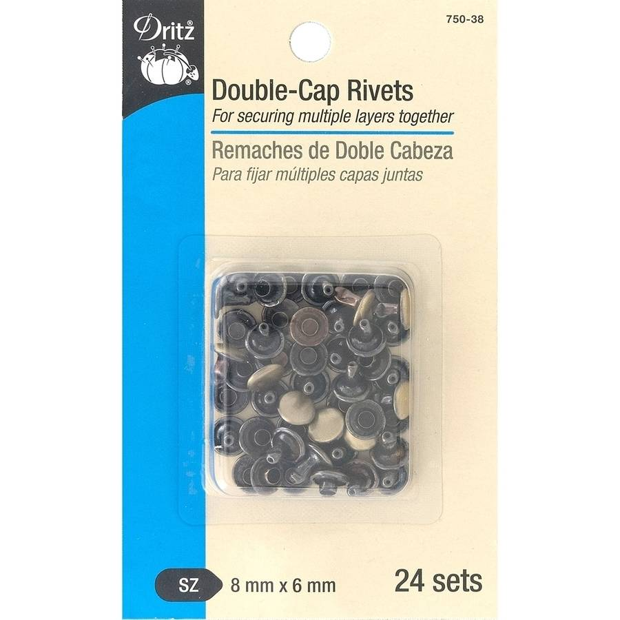 Dritz Double-Cap Rivets, 8mm Cap x 6mm Post, 24pk, Brushed Antique Brass