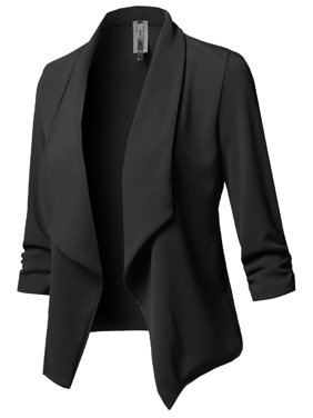 FashionOutfit Women's Stretch 3/4 Gathered Sleeve Open Blazer Jacket
