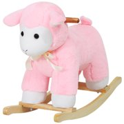 Qaba Lamb Rocking Horse Sheep, Nursery Stuffed Animal Ride On Rocker for Kids, Wooden Plush, Pink