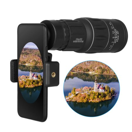 HD Monocular Telescope, 16x52 Zoom Bak-4 prisms All-optical Glass Lenses Coated MFC Green Film Waterproof Phone Telephoto Lens with Phone Adapter for