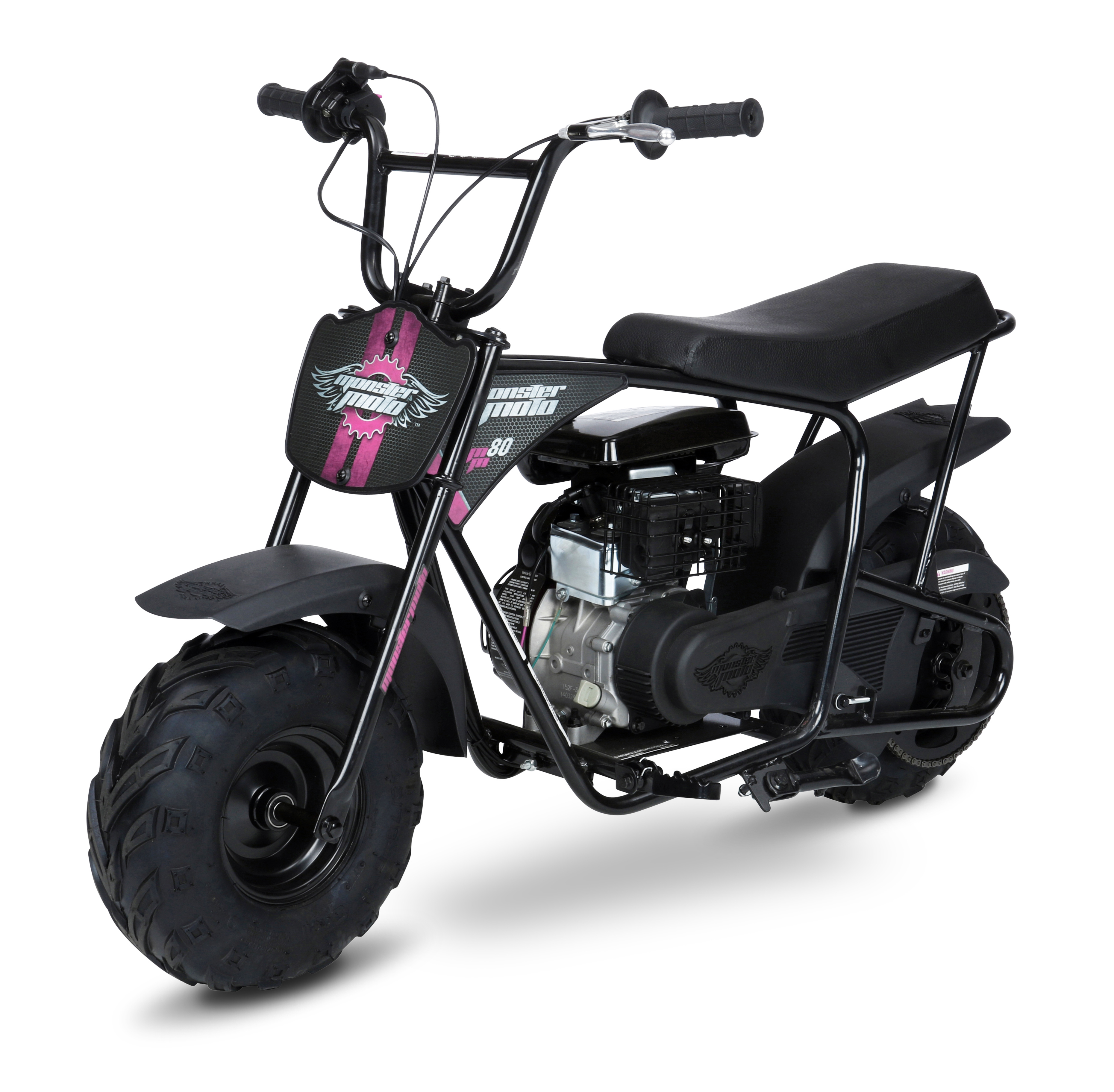 Mega Moto 80cc Mini Bike- Black with Red & Pink Decals