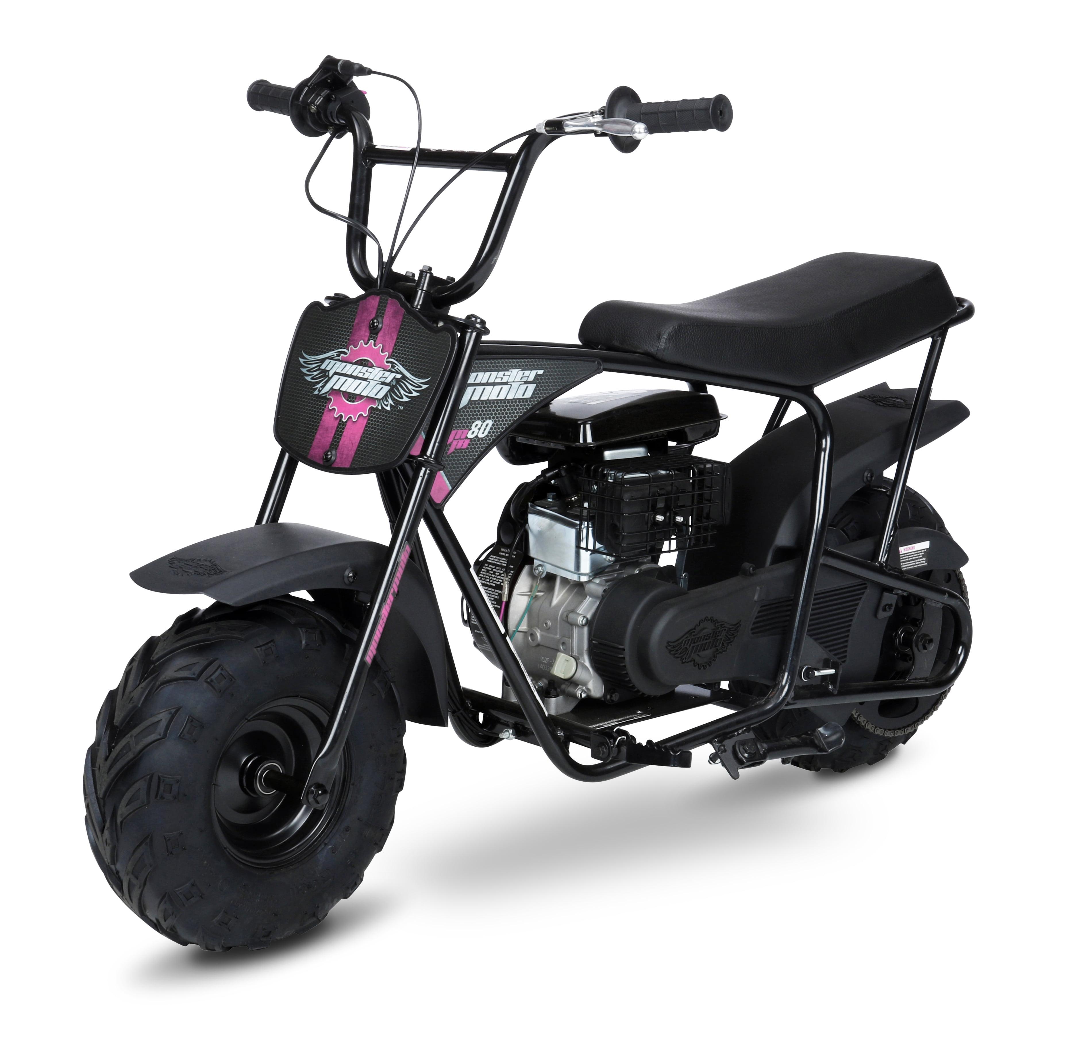 Mega Moto 80cc Mini Bike- Black with Red & Pink Decals