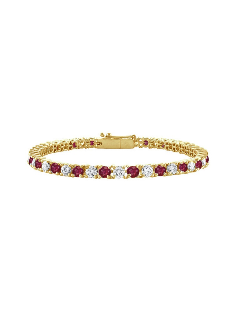 Created Ruby and Cubic Zirconia Tennis Bracelet with 3 CT TGW on 14K Yellow Gold by Love Bright
