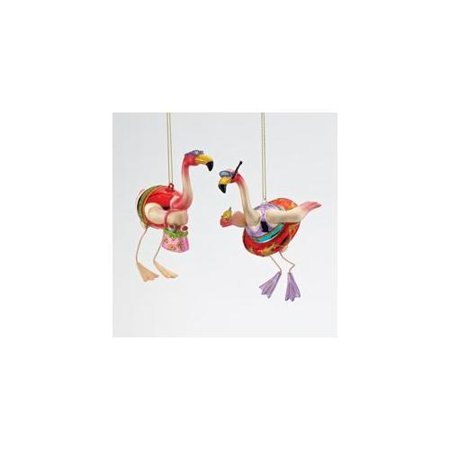 pack of 6 beach party glass pink flamingo christmas ornaments 5