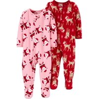 Child of Mine by Carter's Christmas Holiday Baby Toddler Girl Microfleece Blanket Sleeper Pajamas, 2-Pack