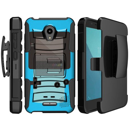 - Clip Armor Case for Alcatel IdealXcite [Clip Armor Hard Shell & Silicone Bumper Case for Alcatel Verso 2017] Shock Resistant Case w/ Kickstand for IdealXcite - Blue Game Color