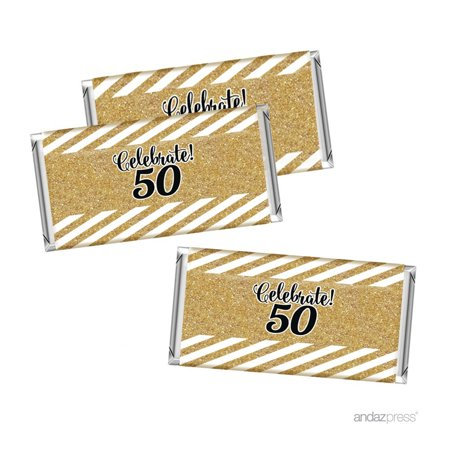 Milestone Hershey Bar Party Favor Labels Stickers, 50th Birthday or Anniversary, 10-Pack, Not Real - 50th Birthday Milestone