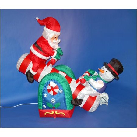 5 39 inflatable santa claus and snowman on seesaw lighted for 36 countdown to christmas snowman yard decoration