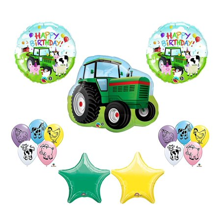 Farm Tractor Barnyard Cow Pig Deere Birthday Party Balloons Favors Decorations Supplies John(10) 12 Farm Animal Printed Latex Balloons. By Qualatex