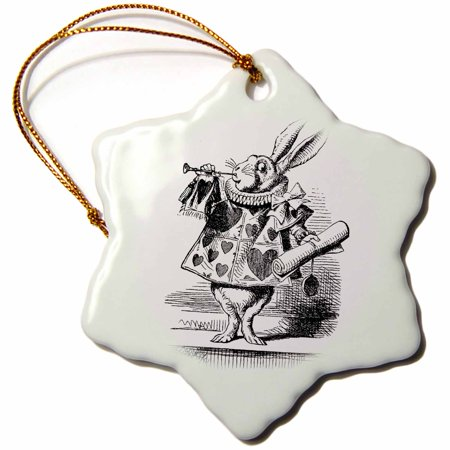3dRose Alice in Wonderland White Rabbit in costume. John Tenniel illustration, Snowflake Ornament, Porcelain, 3-inch - Rabbit In Alice In Wonderland