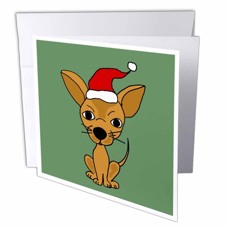 3dRose Funny Chihuahua Dog Wearing Santa Hat Christmas Art, Greeting Cards, 6 x 6 inches, set of 12 (Funny Christmas Hats)