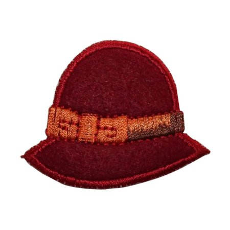 ID 7697 Red Felt Woman Classic Hat Patch Cap Fashion Embroidered IronOn (Classic Red Felt Hat)