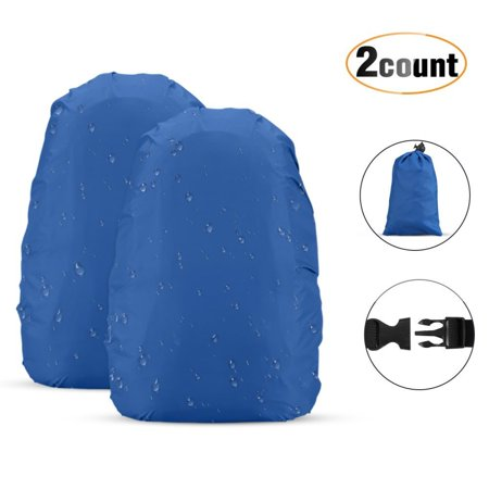 AGPTEK 2-Pack Nylon Waterproof Backpack Rain Cover with 1 Storage Bag for Hiking/Camping/Traveling/Outdoor, Blue(M)