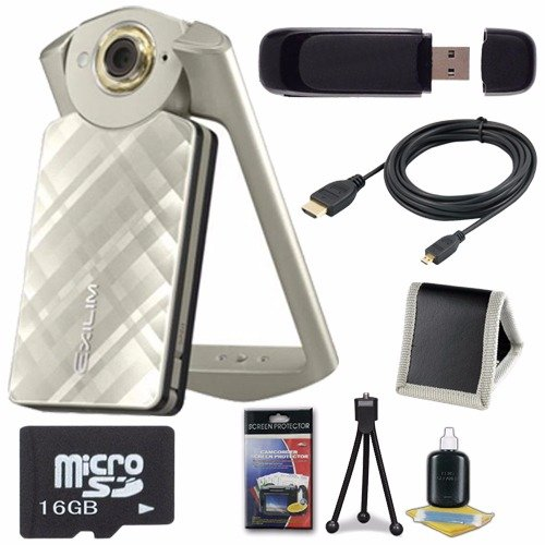 Casio EX-TR50 Self Portrait/ Selfie Digital Camera (Gold) + 16GB microSD Memory Card + Micro HDMI Cable + SDHC Card USB
