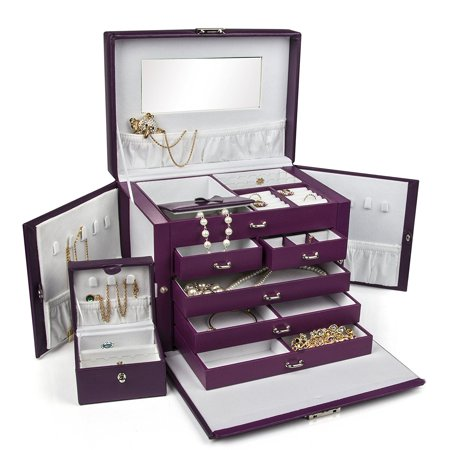 LARGE PURPLE LEATHER JEWELRY BOX / CASE / STORAGE / ORGANIZER WITH TRAVEL CASE AND LOCK ()