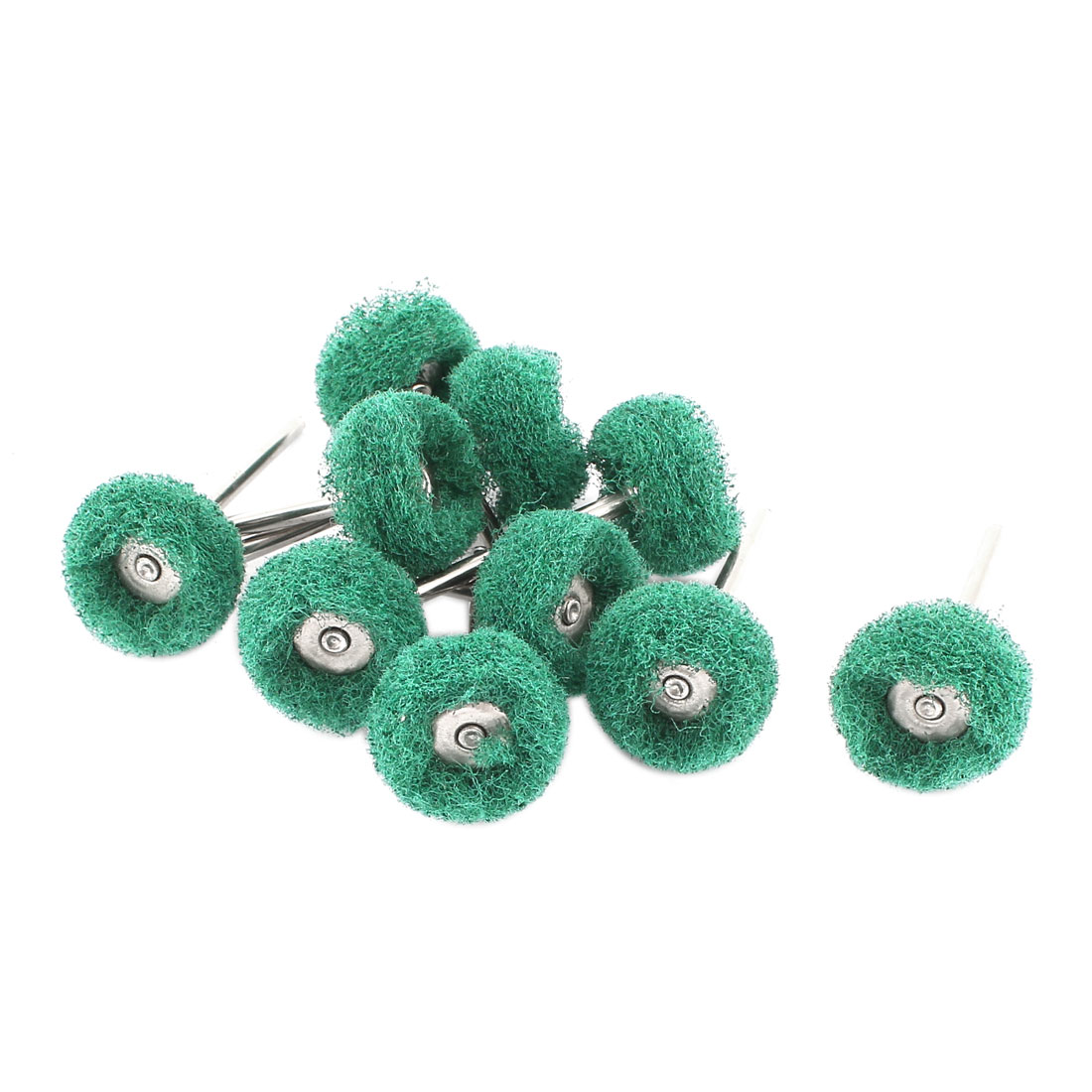 3mm Shank 22mm Dia Wheel Green Nylon Polishing Brush Rotary Tools 10 Pcs