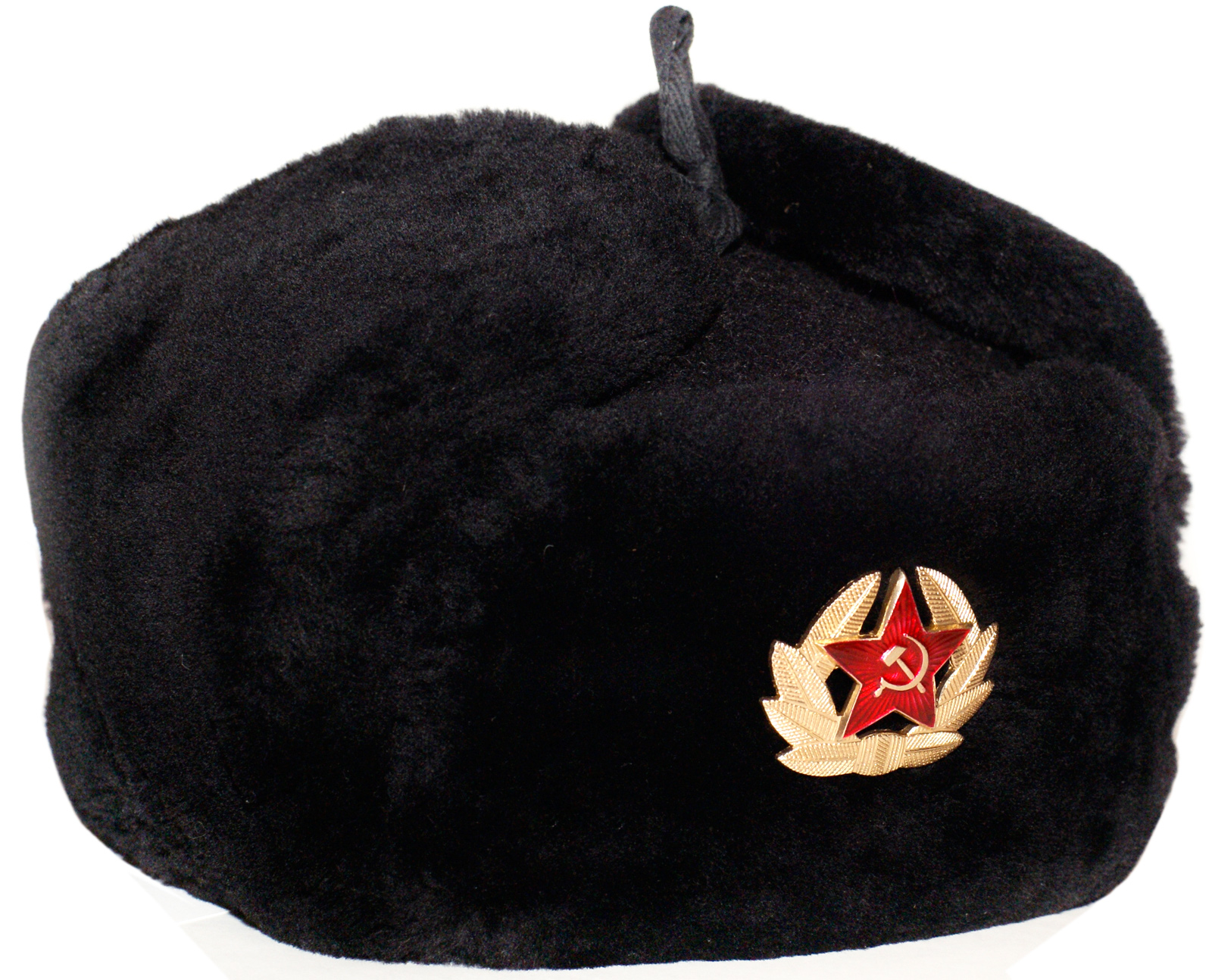 Russian Navy officer mouton ushanka hat. Black. - Walmart.com 17d63d72ebf4