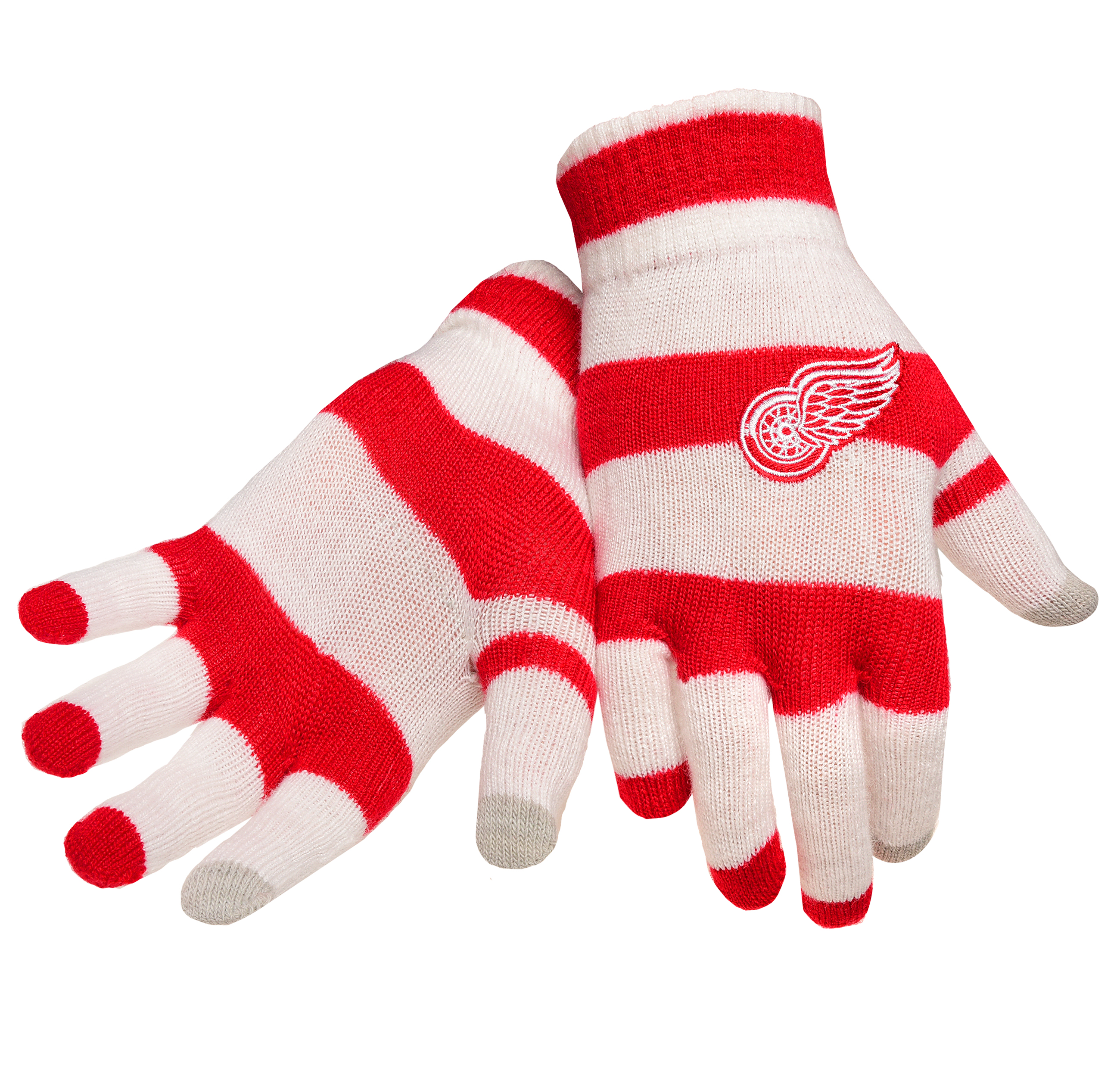 Detroit Red Wings Official NHL Glove Stripe Outdoor Winter Stretch Knit by Forever Collectibles 545378 by Forever Collectibles