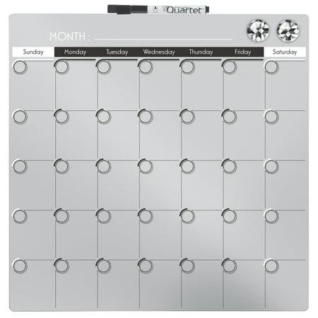 - Quartet 1-Month Magnetic Dry Erase Calendar Board, Silver, 14