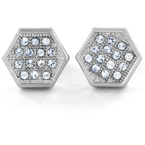 Silver-Tone Micro-Pave Crystal Hexagon Stud Post Earrings