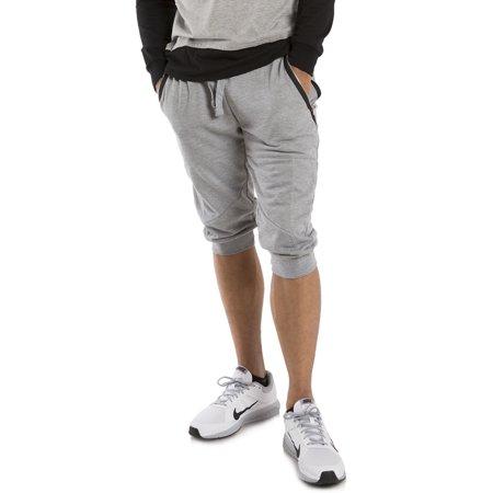 Vibes Men's French Terry Capri Shorts Zip Side Pocket Rib Waist & Cuff 18