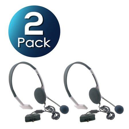 Insten 2 x Live White Headset Headphone +Mic For Microsoft Xbox 360 Gaming Wireless Controller (Xbox 360 Mic Wirless)