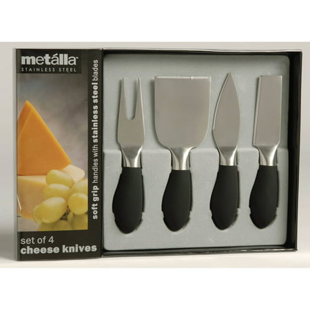 Prodyne Set of 4 Cheese Knives with Black Soft Touch Handles