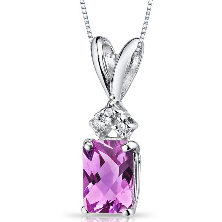 1.25 Carat T.G.W. Radiant-Cut Created Pink Sapphire and Diamond Accent 14kt White Gold Pendant, 18