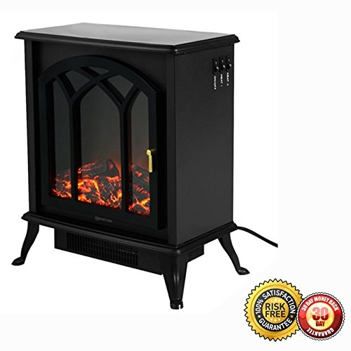 New MTN-G Free Standing Electric 1500W Fireplace Heater Fire Flame Stove Wood