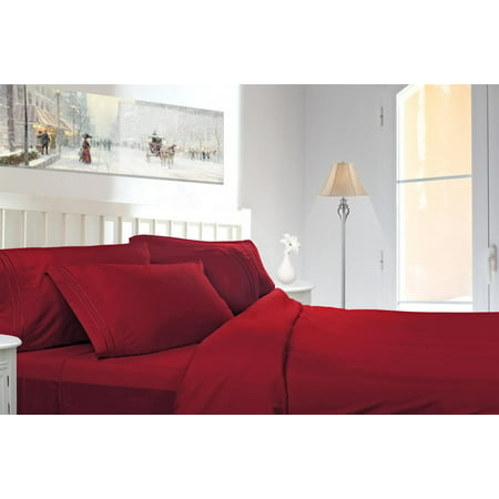 Clara Clark 1800 Series Deep Pocket 4pc Bed Sheet Set Cal King Size, Burgundy Red