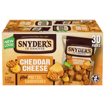 Snyder's of Hanover Cheddar Cheese Pretzel Sandwiches, Single-Serve 1 Oz, 30 (Chocolate Kosher Pretzels)