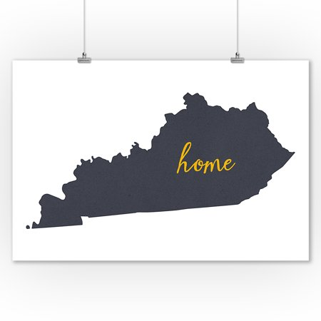 Kentucky - Home State - Gray on White- Lantern Press Artwork (9x12 Art Print, Wall Decor Travel Poster) ()