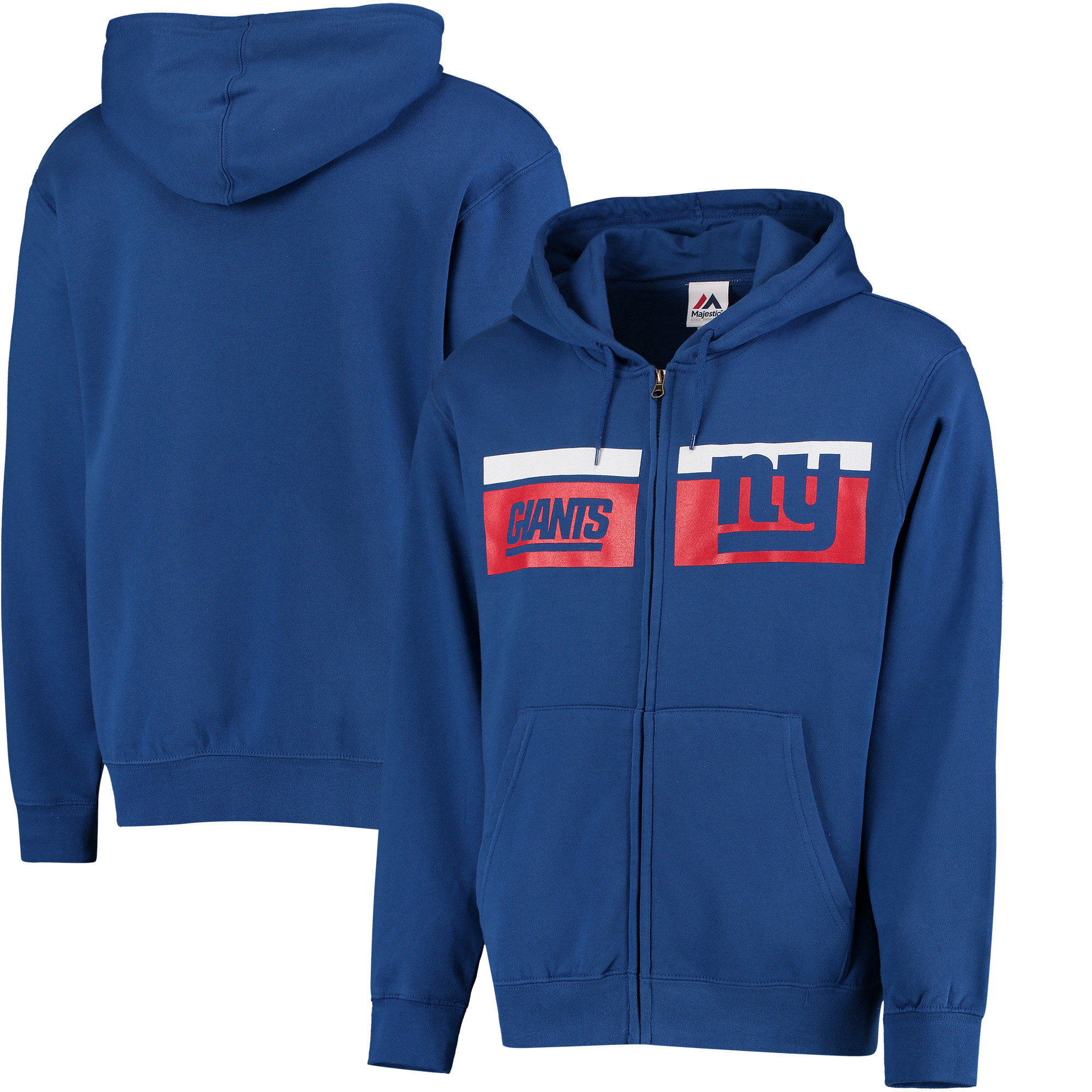 New York Giants Majestic Touchback Full-Zip Hoodie - Royal